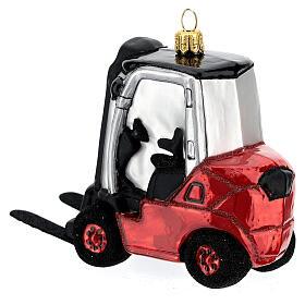 Chariot élévateur verre soufflé décoration sapin Noël s5