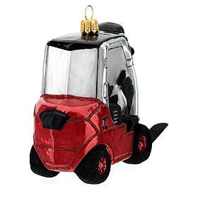 Chariot élévateur verre soufflé décoration sapin Noël s6