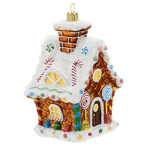 Casita pan de jengibre decoración árbol Navidad vidrio soplado 3
