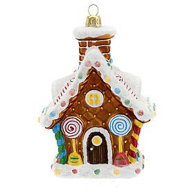 Maison en pain d'épices décoration sapin Noël verre soufflé s1