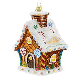 Maison en pain d'épices décoration sapin Noël verre soufflé s2