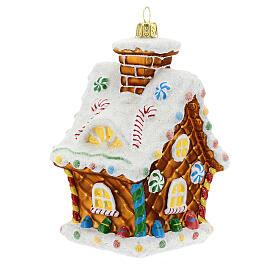 Maison en pain d'épices décoration sapin Noël verre soufflé s7