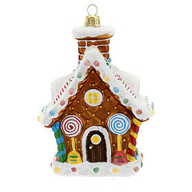 Blown glass Christmas ornament, gingerbread house s1
