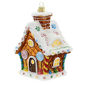 Blown glass Christmas ornament, gingerbread house s2