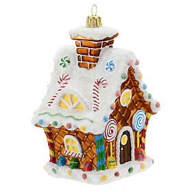 Blown glass Christmas ornament, gingerbread house s3