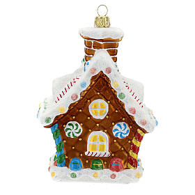 Blown glass Christmas ornament, gingerbread house s4