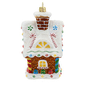 Blown glass Christmas ornament, gingerbread house s5