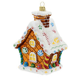 Blown glass Christmas ornament, gingerbread house s6