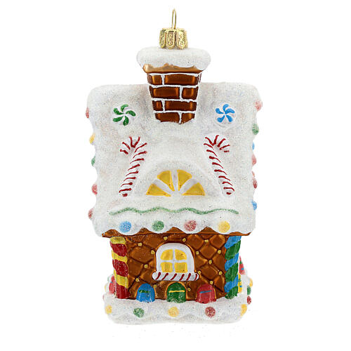 Blown glass Christmas ornament, gingerbread house 5
