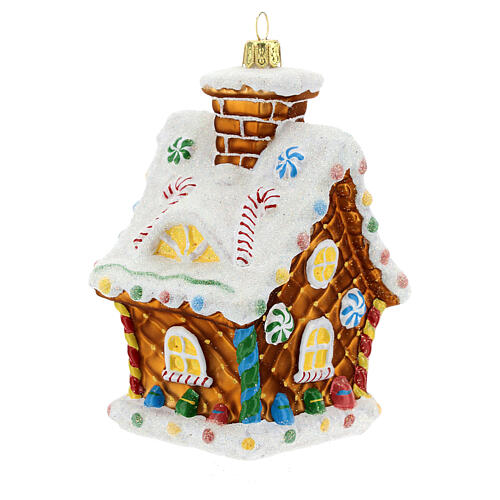 Blown glass Christmas ornament, gingerbread house 7