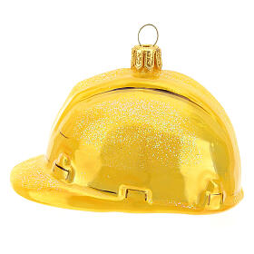 Safety helmet in blown glass Christmas tree decoration s1