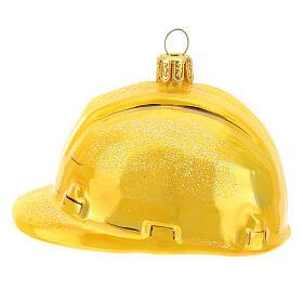 Blown glass Christmas ornament, hard hat s1
