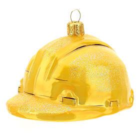 Blown glass Christmas ornament, hard hat s2