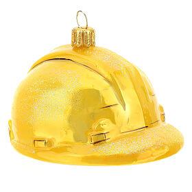 Blown glass Christmas ornament, hard hat s3