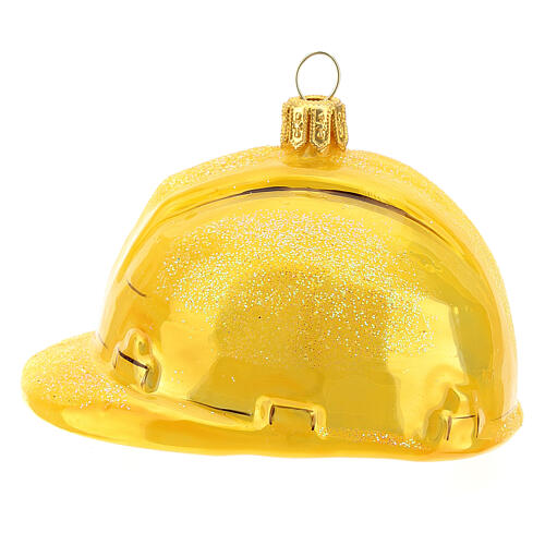 Blown glass Christmas ornament, hard hat 1