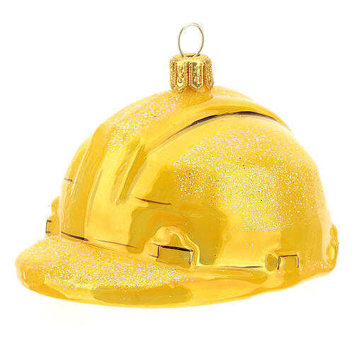 Blown glass Christmas ornament, hard hat 2