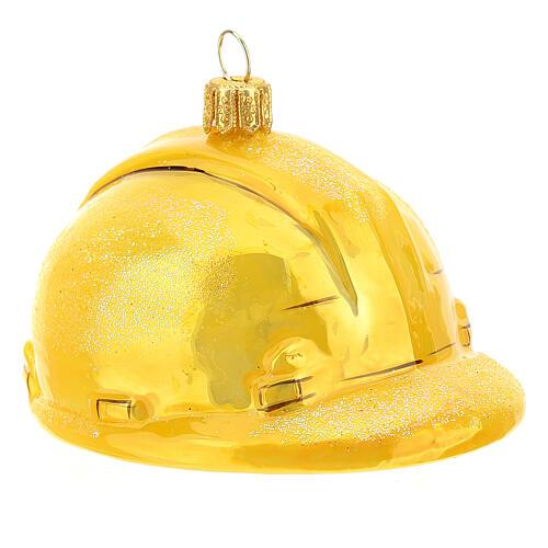 Blown glass Christmas ornament, hard hat 3