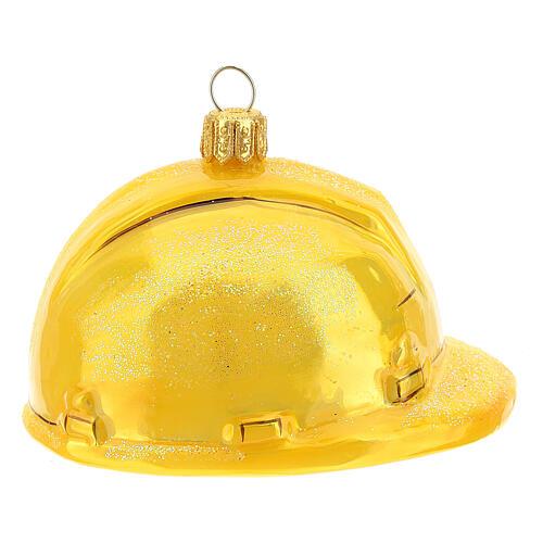 Blown glass Christmas ornament, hard hat 4