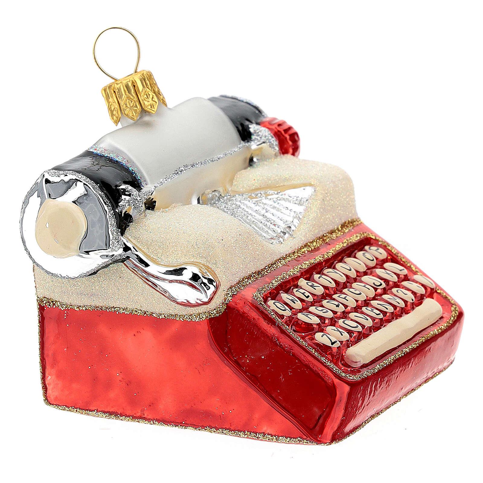Máquina de escribir de época vidrio soplado decoración árbol Navidad 4