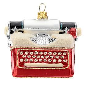 Máquina de escribir de época vidrio soplado decoración árbol Navidad s1