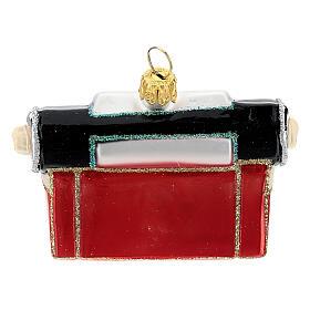 Máquina de escribir de época vidrio soplado decoración árbol Navidad s5