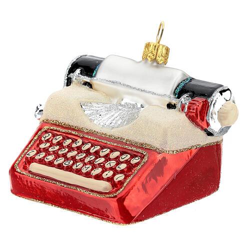 Máquina de escribir de época vidrio soplado decoración árbol Navidad 2