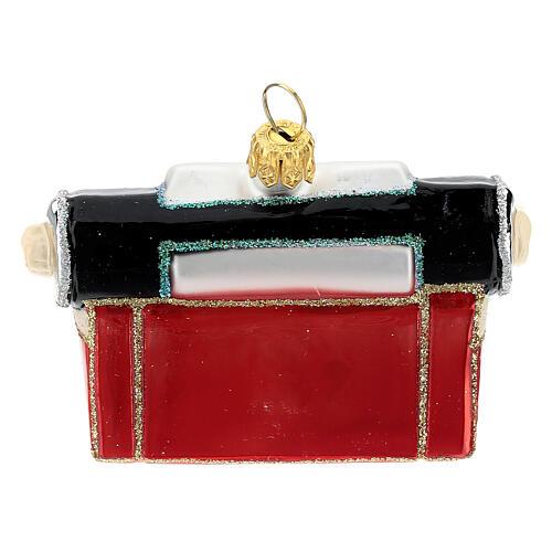 Máquina de escribir de época vidrio soplado decoración árbol Navidad 5
