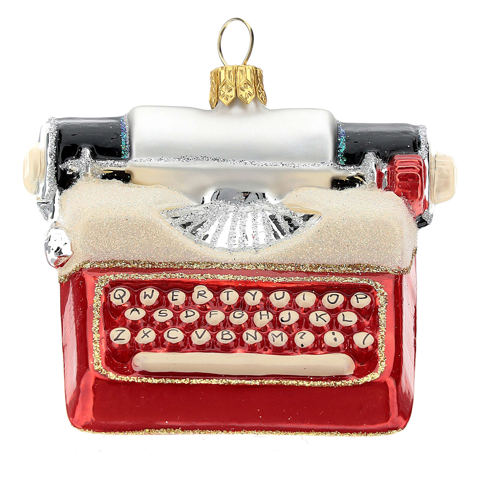 Blown glass Christmas ornament, typewriter 4