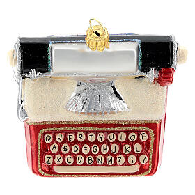 Blown glass Christmas ornament, typewriter s4