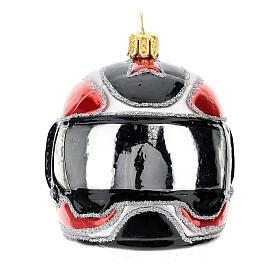 Casque moto verre soufflé décoration sapin Noël s1