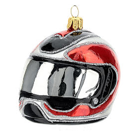 Blown glass Christmas ornament, motorcycle helmet s2