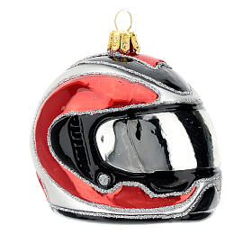 Blown glass Christmas ornament, motorcycle helmet s3