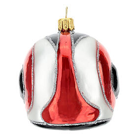 Blown glass Christmas ornament, motorcycle helmet s4
