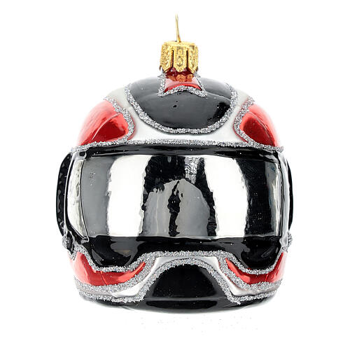 Blown glass Christmas ornament, motorcycle helmet 1