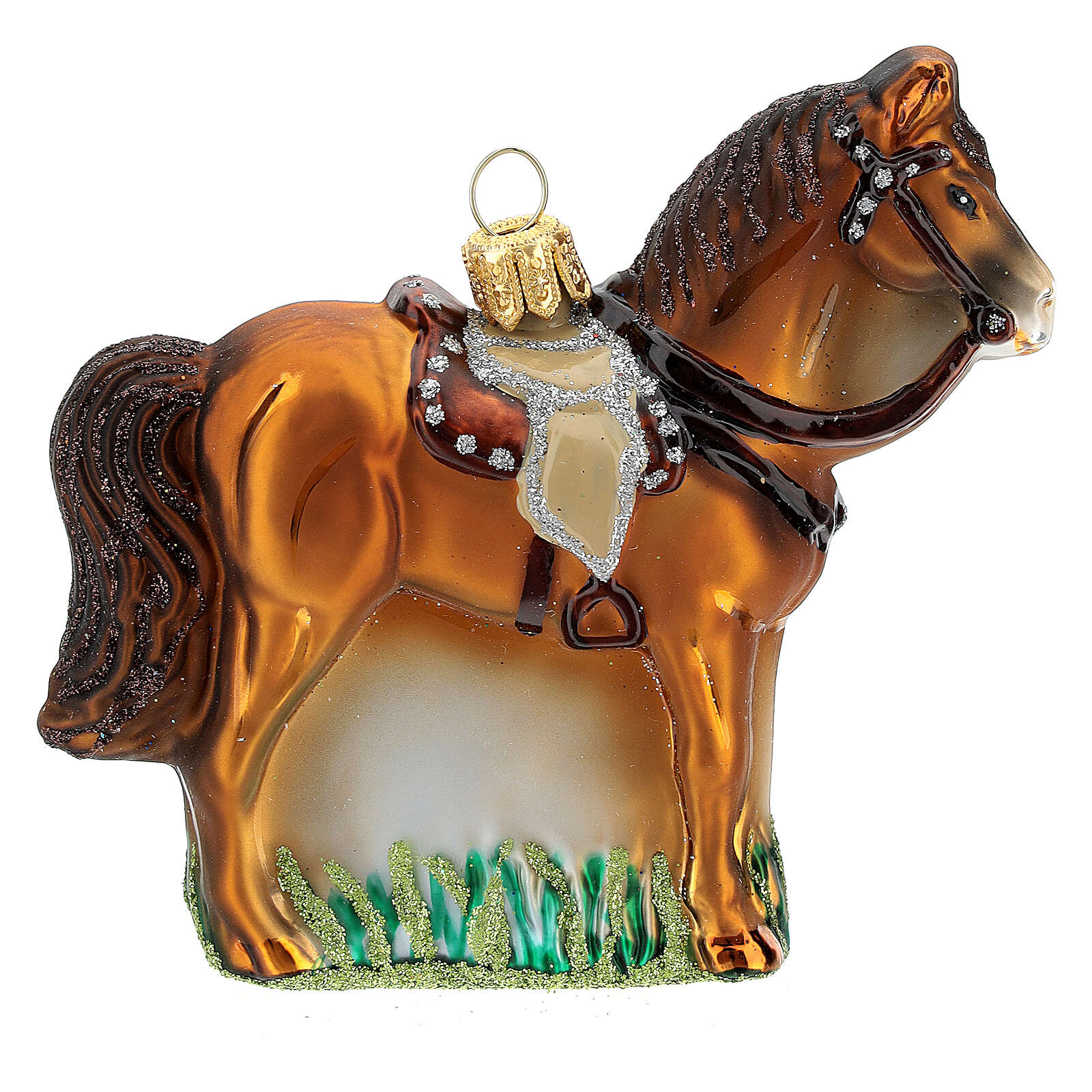 Cheval avec selle verre soufflé décoration sapin Noël 4