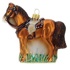 Cheval avec selle verre soufflé décoration sapin Noël s1