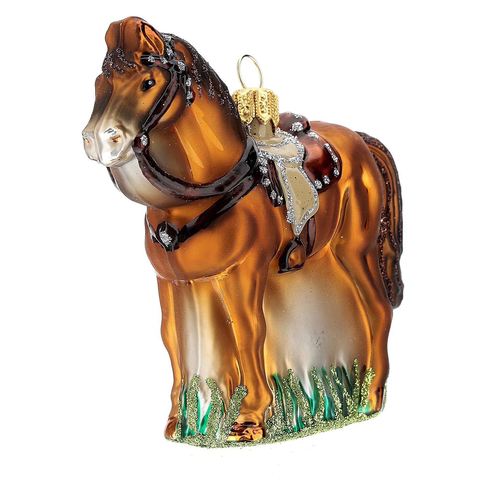 Blown glass Christmas ornament, saddled horse 4