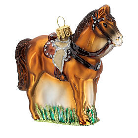 Blown glass Christmas ornament, saddled horse s3
