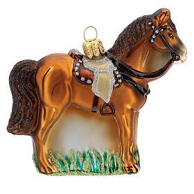 Blown glass Christmas ornament, saddled horse s4