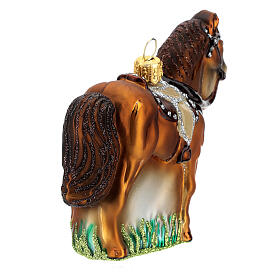 Blown glass Christmas ornament, saddled horse s5