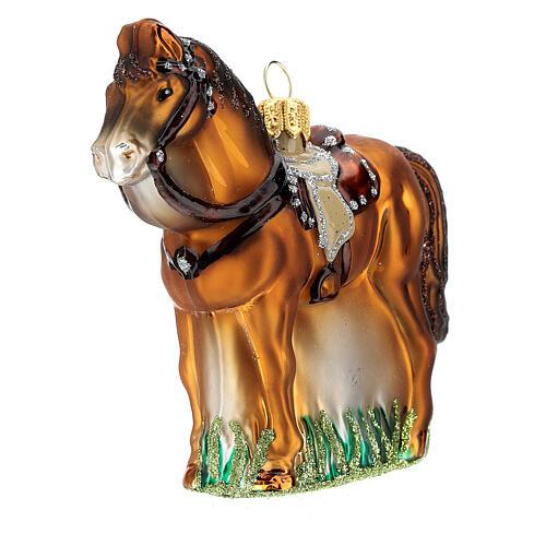 Blown glass Christmas ornament, saddled horse 2