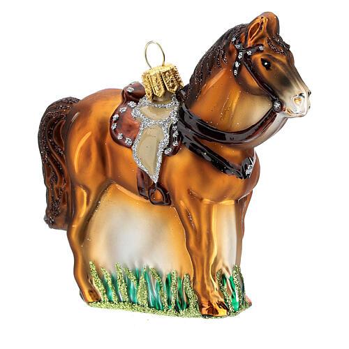 Blown glass Christmas ornament, saddled horse 3