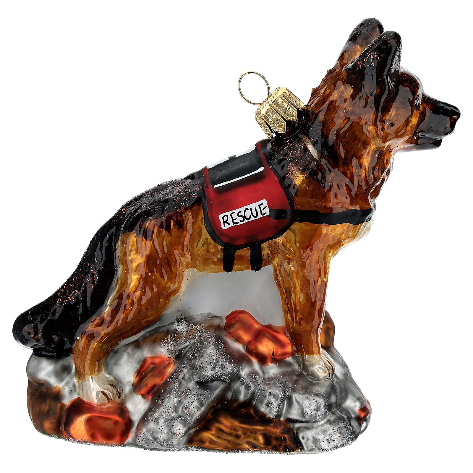 Blown glass Christmas ornament, search dog 4