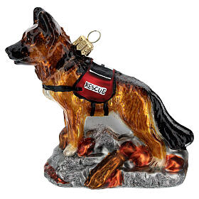 Blown glass Christmas ornament, search dog s1