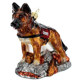 Blown glass Christmas ornament, search dog s2