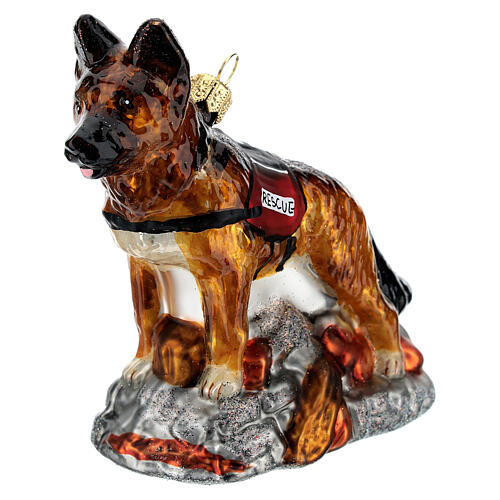 Blown glass Christmas ornament, search dog 2