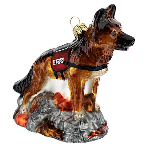 Blown glass Christmas ornament, search dog 3