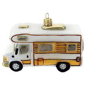 Motorhome blown glass Christmas tree decoration s1