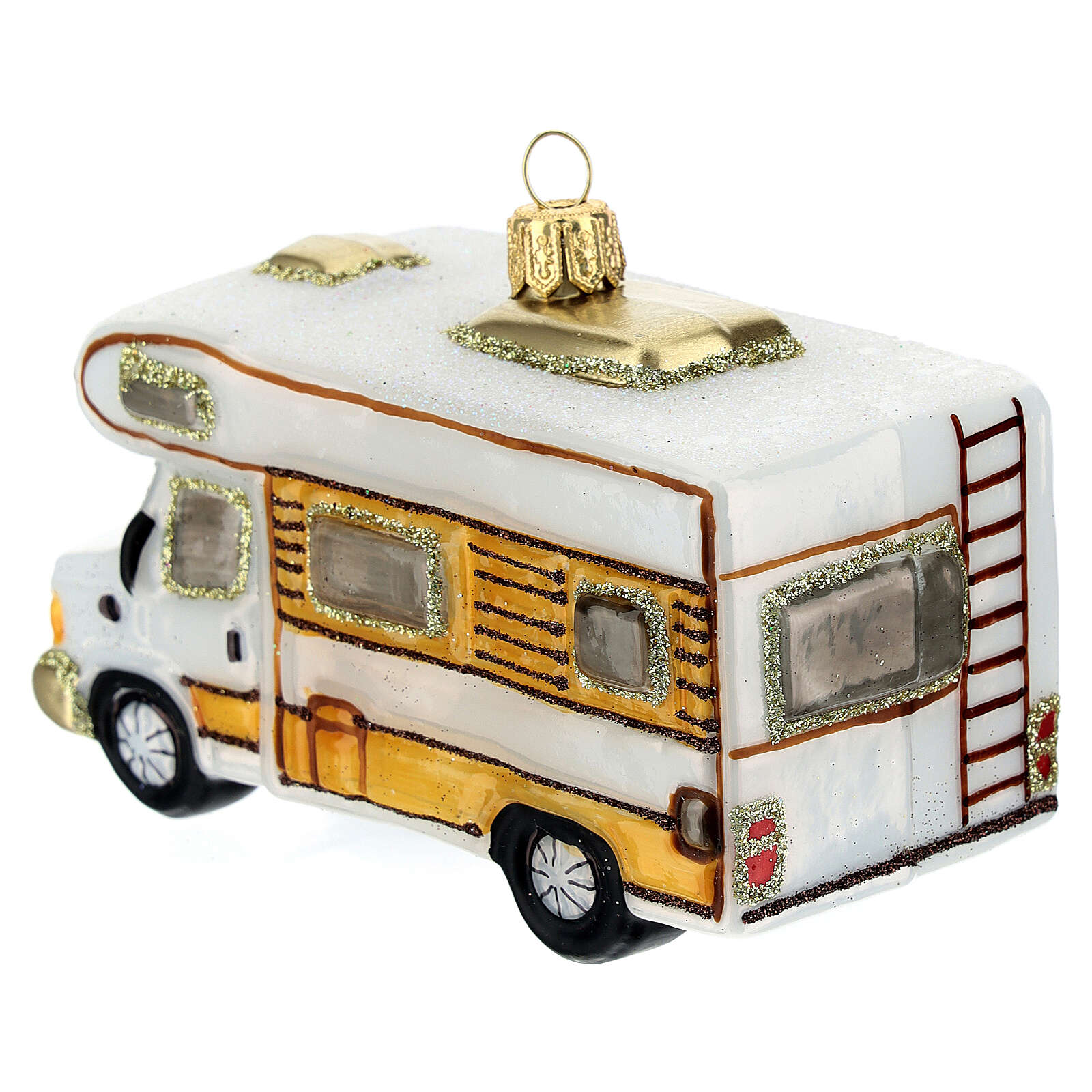Blown glass Christmas ornament, RV camper 4
