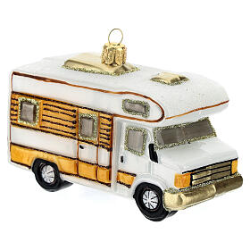 Blown glass Christmas ornament, RV camper s3